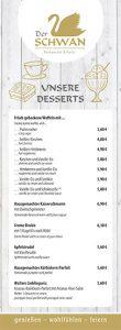 """Der SCHWAN - Speisekarte """"Dessert & Eis"""""""