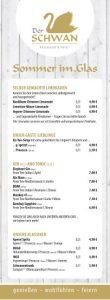 """Der SCHWAN - Speisekarte """"Schmankerl"""""""