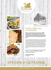 """Der SCHWAN - Speisekarte """"Speisen & Getränke"""""""